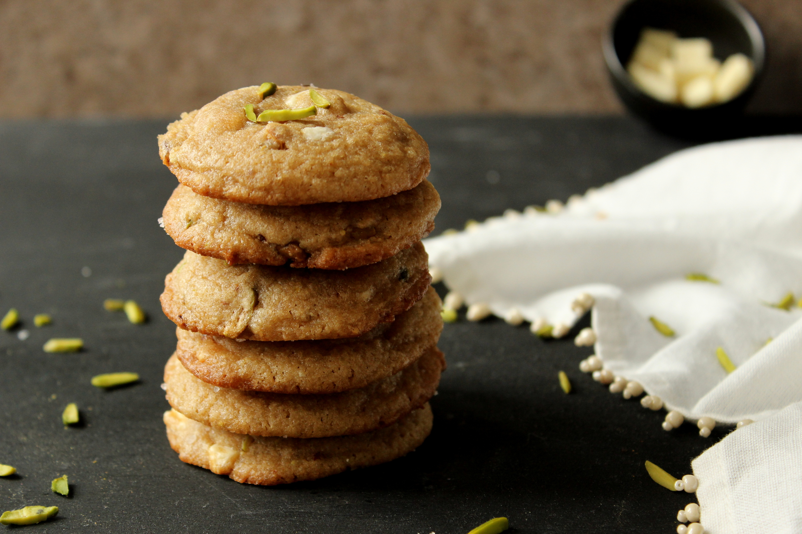 Pistachio & White Chocolate Chunk Cookies - The South ...